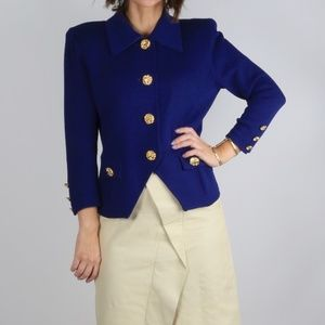 ST. JOHN Collection Blue Button Down Blazer Jacket